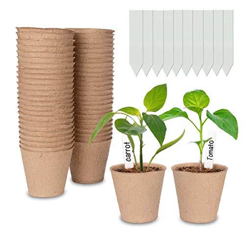 Cymax Lot de 50 Pots de semis en Fibre biodégradable de 8 cm avec 50 étiquettes de Plantes, Godets Semis Plantes Biodégradables, Fleurs, Pots de semences pour Germination du Jardin