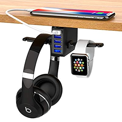 2020 New Headphone Stand Under Desk 5 USB Qc 3.0 Quick Charger Headset Hook Holder Hanger Mount Station(8A/40W), Pc Gaming Headsets Switch Earphone Wire Organizer Adapter Compatible for Ipad iPhone by ZONV