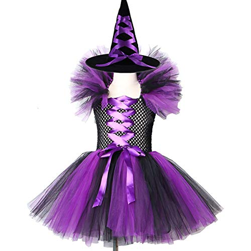 Disfraz de bruja para niños y niñas, disfraz de princesa, hecho a mano, tutú de tul con sombrero de mago, reina malvada, disfraz de fiesta de cosplay