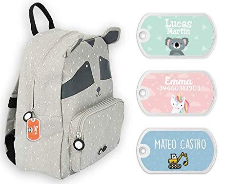 Etiqueta para bolsos, mochilas, maletas personalizadas - Bienpegado, medidas: 50 x 28 mm - Perfectas para marcar mochilas escolares, maletas, artículos de aseo, etc. (Tema para niños)