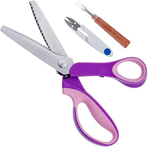 Tijeras dentadas de acero inoxidable, con mango de agarre cómodo, para manualidades de papel de tela profesional, tijeras de vestir, tijeras de corte en zigzag