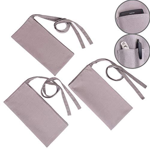 Grillschürze Kochschürze Kellnerschürzen Vorbinder Bistroschürze Serviceschürze mit Taschen, Unisex Grau, 80x80cm