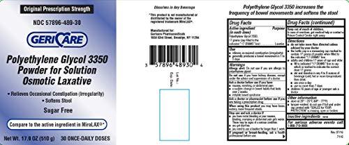 Gericare Powder Laxative Stool Softener, 30 Doses 17.9oz, Sugar Free (1 Pack)