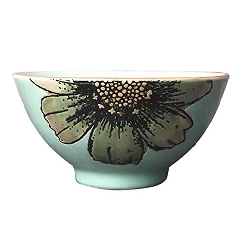 Vajilla de cerámica pintada a mano de cuatro piezas, taza para el hogar, plato redondo, plato largo, cuenco de cerámica, leche, avena, bistec, pasta (Color : Green, Size : 4.84 * 4.84 * 2.48inch)