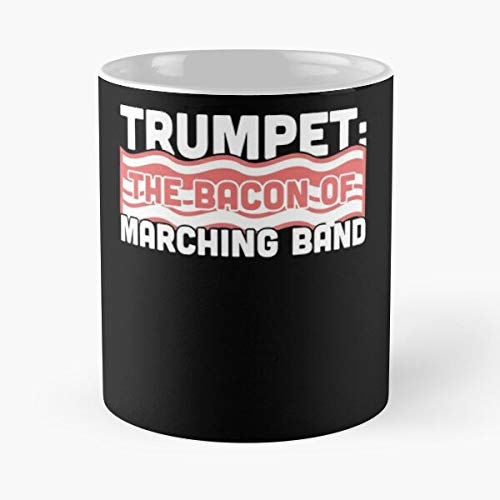 Trumpet Chair Camp First Marching Clever Funny Band I FSGdesign- Best Mug holds hand 11 oz made from White marble ceramic