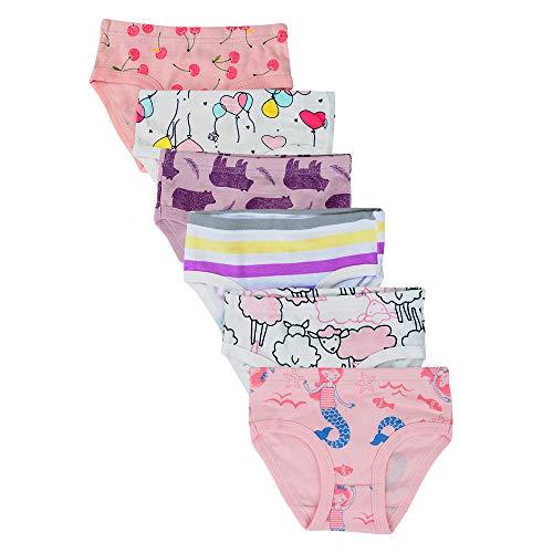 Kidear Unterwäsche für Kleinkinder, Mädchen, Baby, weiche Baumwoll-Slips für kleine Kinder, sortiert (6 Stück) Gr. 5-6 Jahre, Stil 11