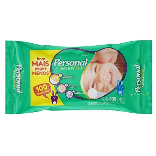 Toalhas Umedecidas Soft and Protect, Personal, 100 unidades, Branco