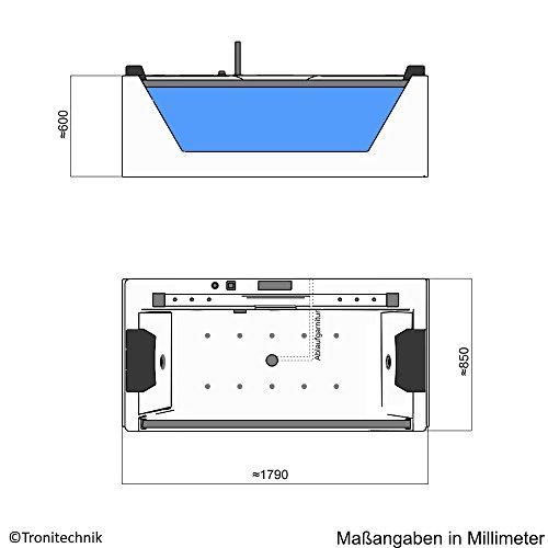 TroniTechnik Whirlpool Badewanne KOS 2 179cm x 85cm mit Heizung Hydromassage Bachlauf und Farblichtherapie - 9