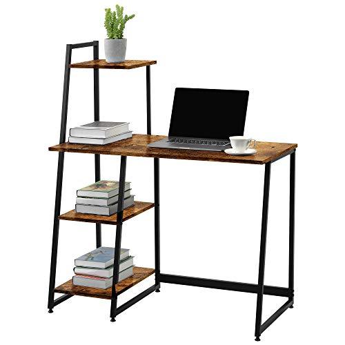 Escritorio, mesa de ordenador con estantes, mesa de ordenador, mesa de oficina, mesa de trabajo, mesa de oficina en casa, fácil montaje, estable, diseño industrial, color negro