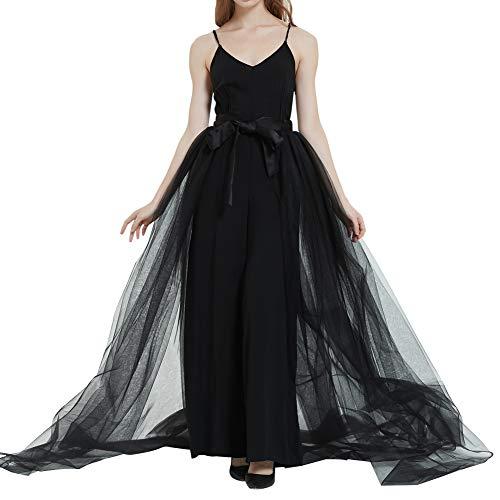 Women Detachable Train Overskirt Long Bridal Tulle Maxi Skirt for Wedding Party Bridal Black