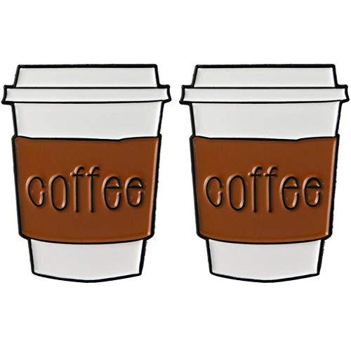 CoSunny Kaffeetasse Anstecknadel 2-teiliges Set Kaffeeliebhaber Emaille Brosche Anstecknadeln Zubehör Badges Geschenke