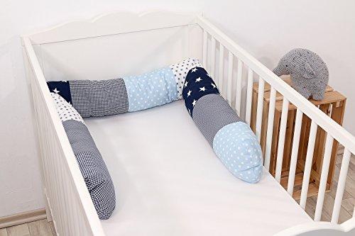 Baby Nestschlange | Made in EU | ÖkoTex 100 | Schadstoffgeprüft | Antiallergisch | Baby Bettumrandung | Bettschlange | Blau Helblau Grau | 200 x 13 cm | ULLENBOOM ®