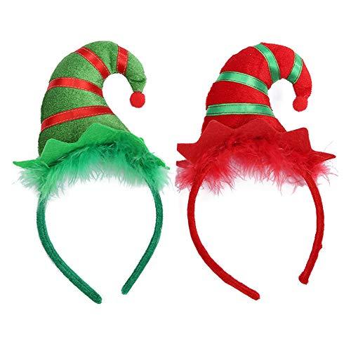 2 Piezas de Diadema de Navidad Sombrero de Navidad Diadema Diadema de Duende Diadema de Sombrero de...