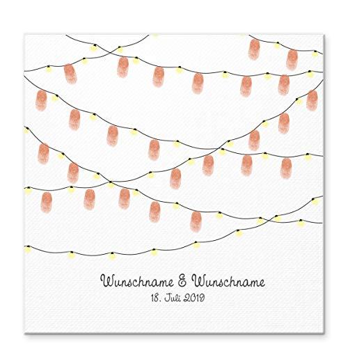 Madyes Gastenboek voor bruiloft, gepersonaliseerd canvas vingerafdruk slinger voor het bruidspaar als geschenk, bruiloftsdecoratie, naam met datum. 50 x 50 cm groot op spieraam hout