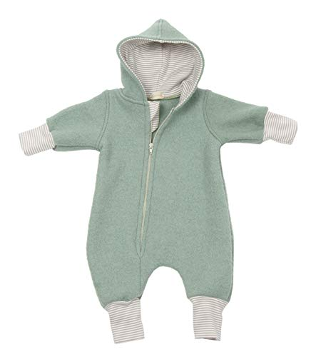 "Lilakind"" Baby Wollwalk Overall Einteiler mit Kapuze Walkloden Walkoverall Mint Grün Gr. 80/86 - Made in Germany"