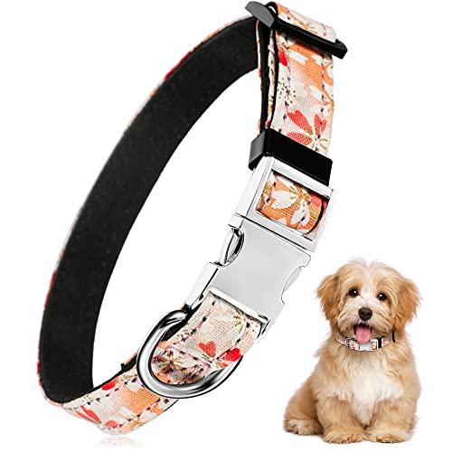 Collar de Perro Rosa con Estampado de Flores Collar Floral de Mascotas Collar de Perro Ajustable Collar de Mascotas Separable para Perros, Talla XS