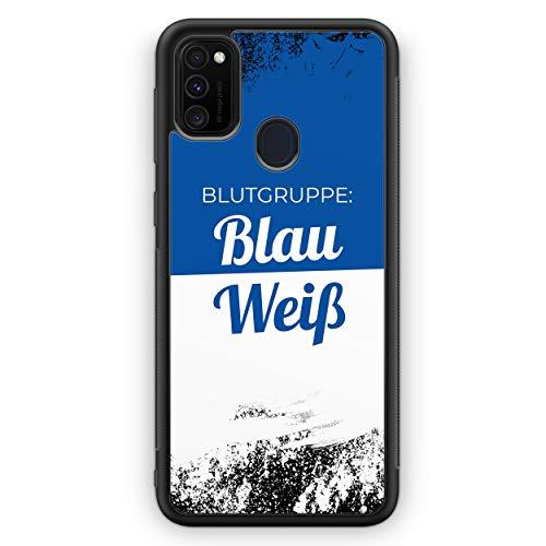 Blutgruppe Blau Weiß - Silikon Hülle für Samsung Galaxy M30s - Motiv Design Sport Fußball Basketball Handball Volleyball Hockey Cool Spruch Zitat - Cover Handyhülle Schutzhülle Case Schale
