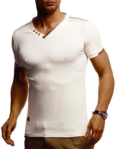 Leif Nelson Herren T-Shirt V-Ausschnitt Weißes Kurzarmshirt Sweatshirt Kurzarm Longsleeve Basic Sommer Shirt Slim Fit LN1355 L Beige