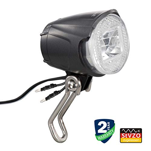 Linkbest Fahrradlicht Dynamo Vorne, led Fahrradlampe Fahrradbeleuchtung Stvzo Zugelassen Scheinwerfer, CREE 40 Lux Wasserdicht IPX-5 Weitspannung 6V-48V für Nabendynamo ebike,2 Optionale Halterungen