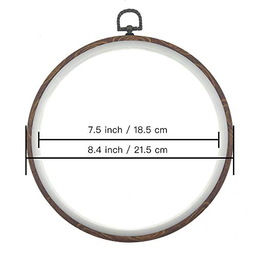 Wool Queen 3 Pieces 8.4'' 21.5cm Rug-Punch Embroidery Ring Cross Stitch No Slip Hoops Set Imitated Wood Display Frame Circle Embroidery Kits for Art Craft Sewing and Hanging