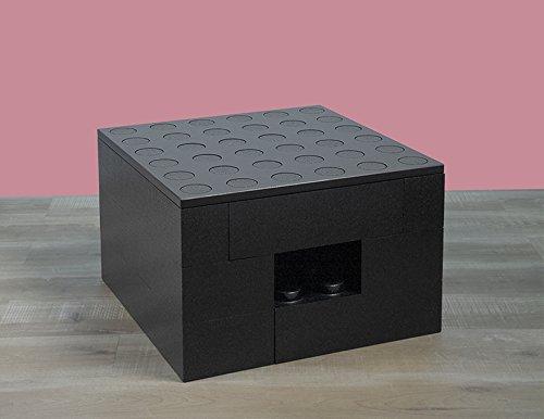 BAM - Table basse noire modulable avec rangements 57x57x36,5cm