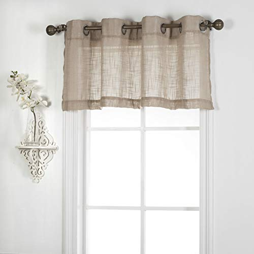 """1 Piece Linen Look Grommet-Top Semi Sheer Window Treatment Valance for Small Windows (52"""" W x 18"""" L, Taupe)"""