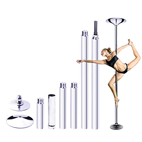RAYLON Spinning and Static Dancing Pole, 45mm Diameter Portable Stripper Pole, 89'-115' Adjustable Height, Fitness Exercise Dance Tube for Home Pub Party Gym