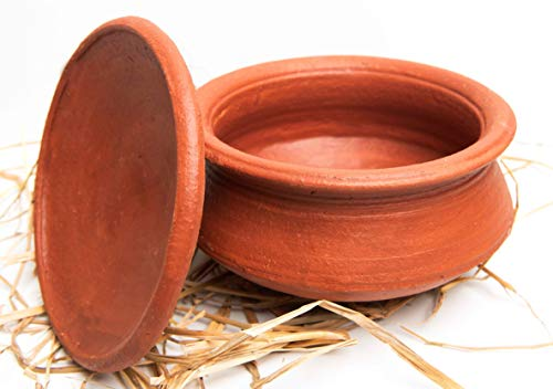 Tribal Culture Earthen Clay / Kadhai Pots For Cooking , Pre- Seasoned Handmade Biryani Pots / Brown (1 Ltr,Small)
