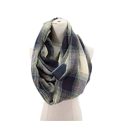 Schal Damen Farbverlauf Plaid Schal Reise Frauen Versteckte Tasche Winter Warm Halten Schals-1_One_Size