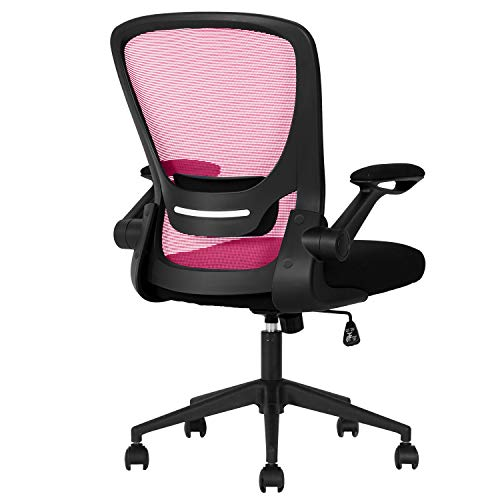 Home Office Chair Ergonomic Desk Chair Mesh Computer Chair with Lumbar Support Flip-up Arms Swivel Rolling Executive Task Chair Adjustable Chair for Adults(Pink)
