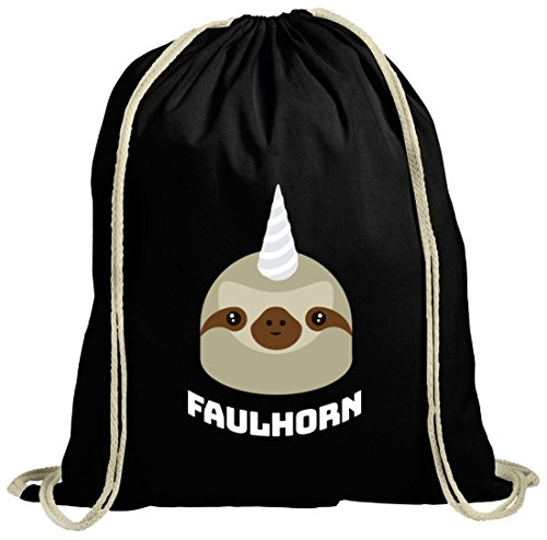ShirtStreet Einhorn Faultier natur Turnbeutel mit Faulhorn Motiv, Größe: onesize,schwarz natur