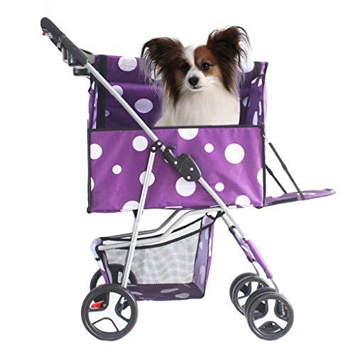 HHGO Hond kinderwagen huisdier kinderwagen voor kleine middelgrote honden katten, afneembare standaard, eenvoudig te monteren en vouwen, lichtgewicht goed gemaakt puppy buggy met mand eronder, gemakkelijk lopen reisdrager