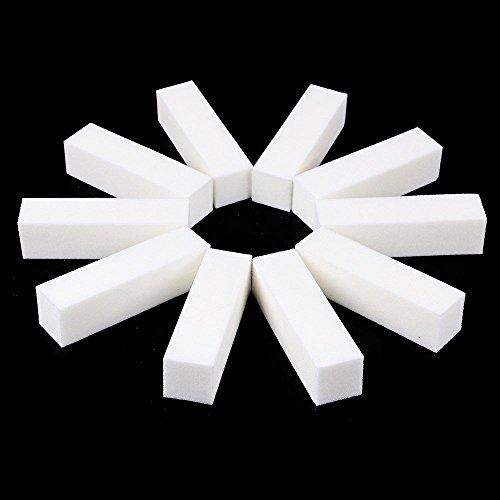 Chaud Fille Vernis à ongles ponçage blocs, Lot de 10 pièces Blanc