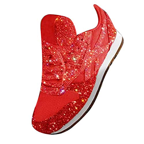 ORANDESIGNE Damen Pailletten Sneaker Flach Schuhe Freizeit Schnürer Sportschuhe Glänzende Schuhe Laufschuhe Sneaker Rot 35 EU