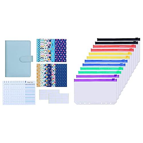 Antner 27pcs A6 PU Leather Binder Budget Cash Envelopes System (Mint Blue) Bundle   12pcs Binder Pockets A6 Size Multicolor Zipper
