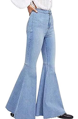 Women's Fashion Bell Bottom Pants High Waist Tassel Stretch Curvy Fit Jeans Light Blue, US 6