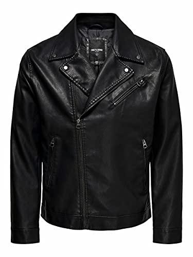 Only & Sons ONSAKSEL PU Biker Jacket OTW Vd Chaqueta, Negro, XL para Hombre