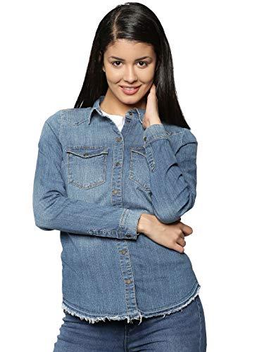 ONLY Damen onlKAYLIN L/S RAW DNM Shirt PIM3062 NOOS Hemd, Grau (Medium Blue Denim), 38