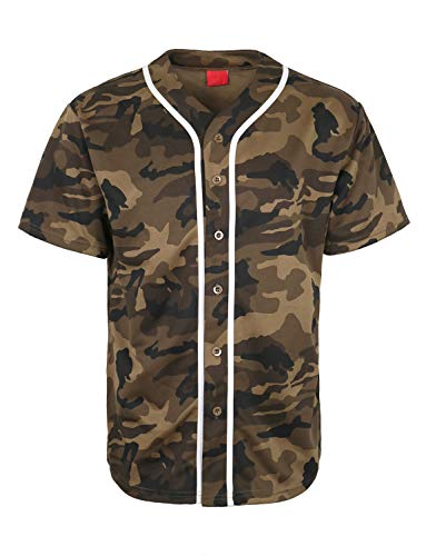 URBANJ Men's Baseball Jersey Button Down Short Sleeve Shirt Big&Tall Size S-5XL (M, Olive Camo)