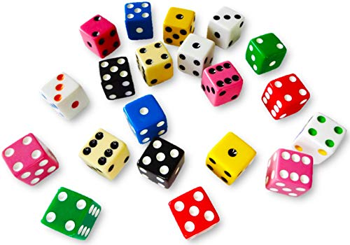 Discount Learning Supplies 20 Assorted Dice 10 Colors 16 mm - Great for Gaming Casino Night - Brought to You by DLS
