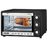 DMS 48 Liter Mini Backofen mit Umluft | 2000 Watt Pizzaofen mit Innenbeleuchtung | Drehspieß | Timer | stufenlos regulierbare Temperatur von 100-230 °C