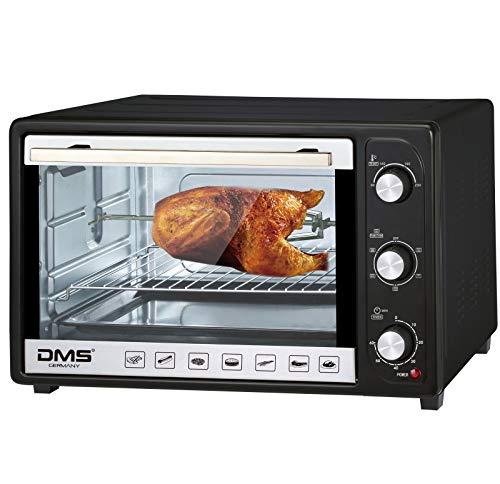 DMS 48 Liter Mini Backofen mit Umluft | 2000 Watt Pizzaofen mit Innenbeleuchtung | herausnehmbares Krümelblech | Drehspieß | Timer | stufenlos regulierbare Temperatur von 100-230 °C