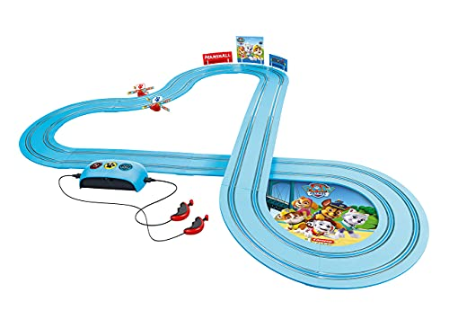 Carrera FIRST PAW PATROL Race N Rescue 2,4m Rennstrecken-Set | 2 ferngesteuerte Fahrzeuge mit Chase und Marshall | mit Handregler & Streckenteilen | Spielzeug für Kinder ab 3 Jahren