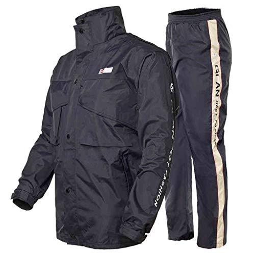 Traje de lluvia para hombre reutilizable con chaqueta de lluvia y pantalones de lluvia) para adultos a prueba de lluvia resistente al viento con capucha para trabajo al aire libre (tamaño: XXXL)