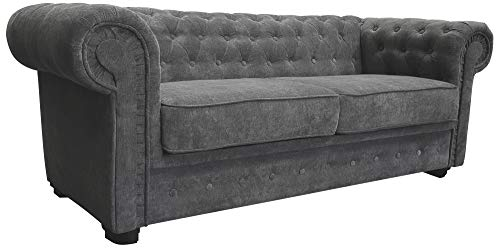 Chesterfield Style Sofa bed Venus 3 Seater 2 Seater Fabric Grey Settee (2seater, Grey)