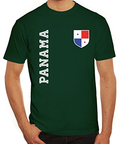 Wappen Fußball WM Fanshirt Gruppen Herren Männer T-Shirt Rundhals Fan Trikot Panama, Größe: S,dunkelgrün