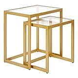 Henn&Hart Brass Finish Nesting Set Side Table