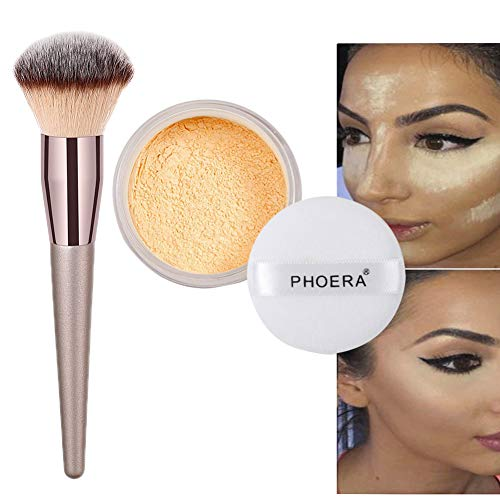 Lucoss Puder Pinsel Set, Loose Banana Powder Matt Leichtes Puder Ölkontrolle Transparent Natural...