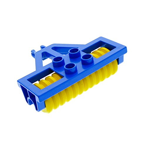 1 x Lego Duplo Anhänger Walze blau gelb Pflug Bauernhof Traktor Farm Auto 4828 c01