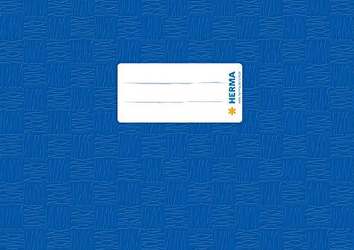 HERMA 7413 Heftumschlag DIN A5 quer, gedeckt mit Baststruktur und Beschriftungsetikett, aus strapazierfähiger und abwischbarer Polypropylen-Folie, 1 Heftschoner für Schulhefte, blau